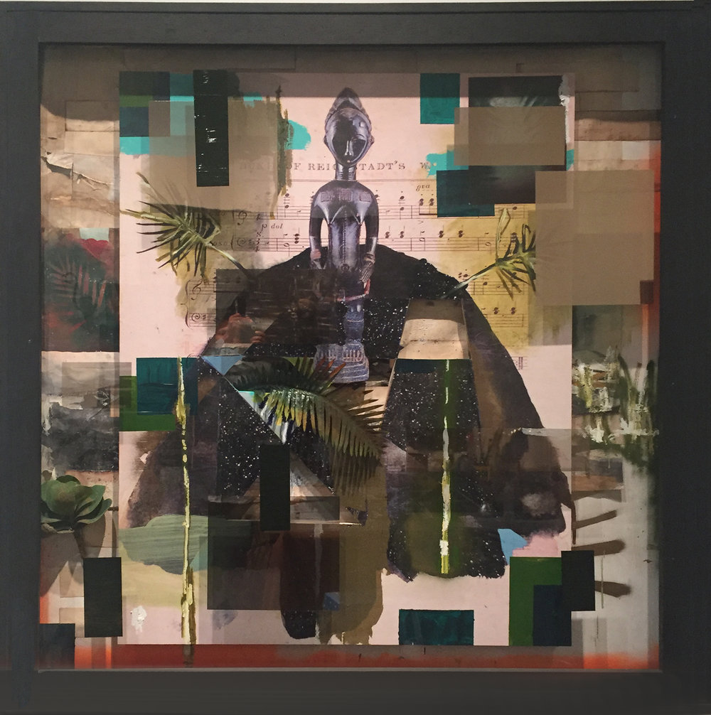 Radcliffe Bailey ,  Conductor , 2016. Mixed media including collage elements, paint, and glass on panel. ©Radcliffe Bailey. Image courtesy of the artist and Jack Shainman Gallery, New York.