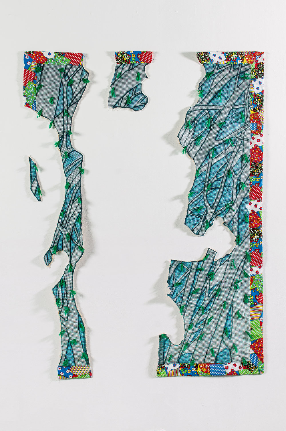 Aaron McIntosh,   Forest Frolic , 2013  Vintage cotton fabric, digital textile print, batting, thread, acrylic yarn ties  Image courtesy of the artist