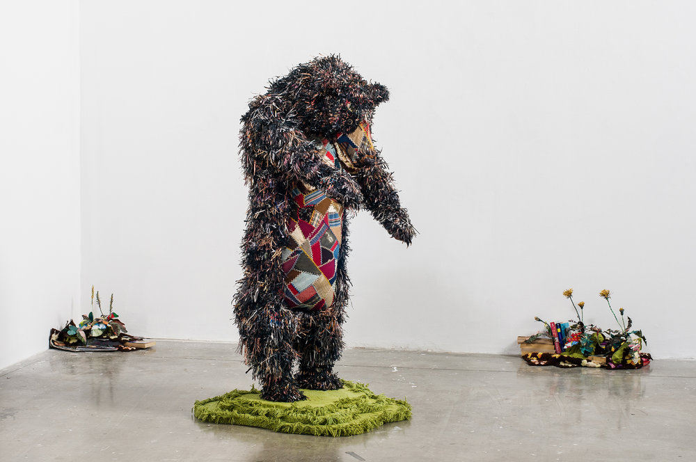 Aaron McIntosh,   The Bear , 2013  Mixed-media fiber sculpture, shredded gay porn, vintage cotton fabric, crazy quilting, batting, thread  Image courtesy of the artist