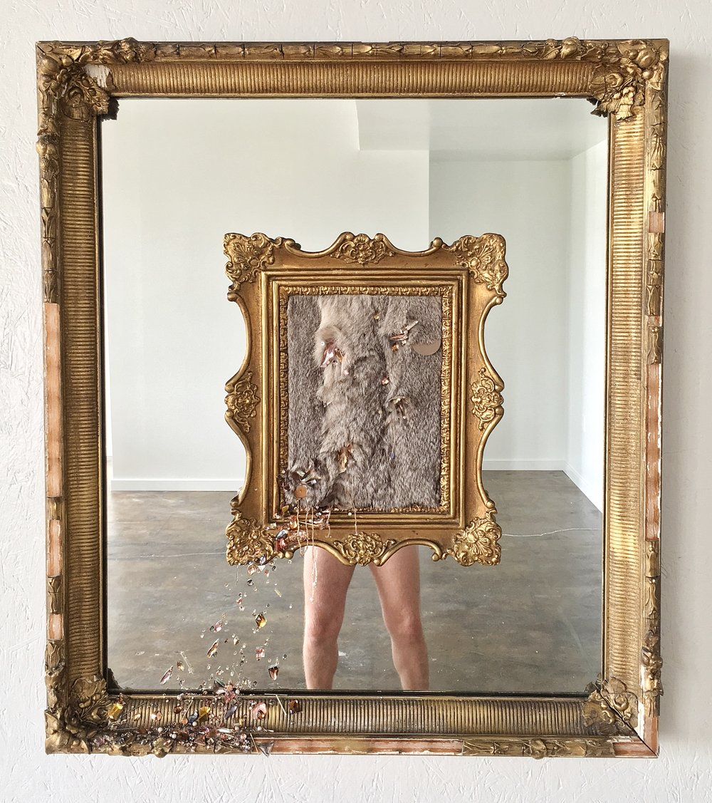 "Michael-Birch Pierce,   Where Do I Stop and You Begin?,  2017.  Hand embellishment on rabbit fur with antique frames and mirror. 34""x39"".  Image courtesy of the artist."