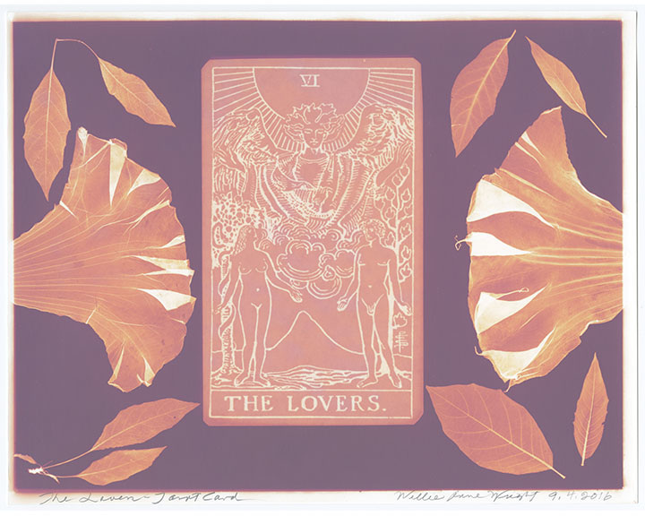 """Willie Anne Wright, """"The Lovers""""from Channeling the Tarot,2016.Lumen print.Image courtesy of the artist and Candela Gallery, Richmond."""