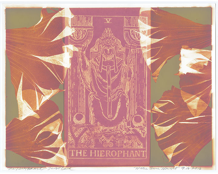 """Willie Anne Wright, """"The Hierophant""""from Channeling the Tarot,2016.Lumen print.Image courtesy of the artist and Candela Gallery, Richmond."""