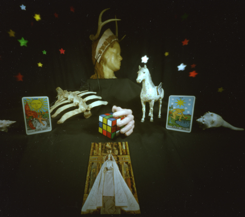 Willie Anne Wright, Still Life-Rubix Cube Set Up,1982. Cibachrome pinhole photograph.Image courtesy of the artist and Candela Gallery, Richmond.