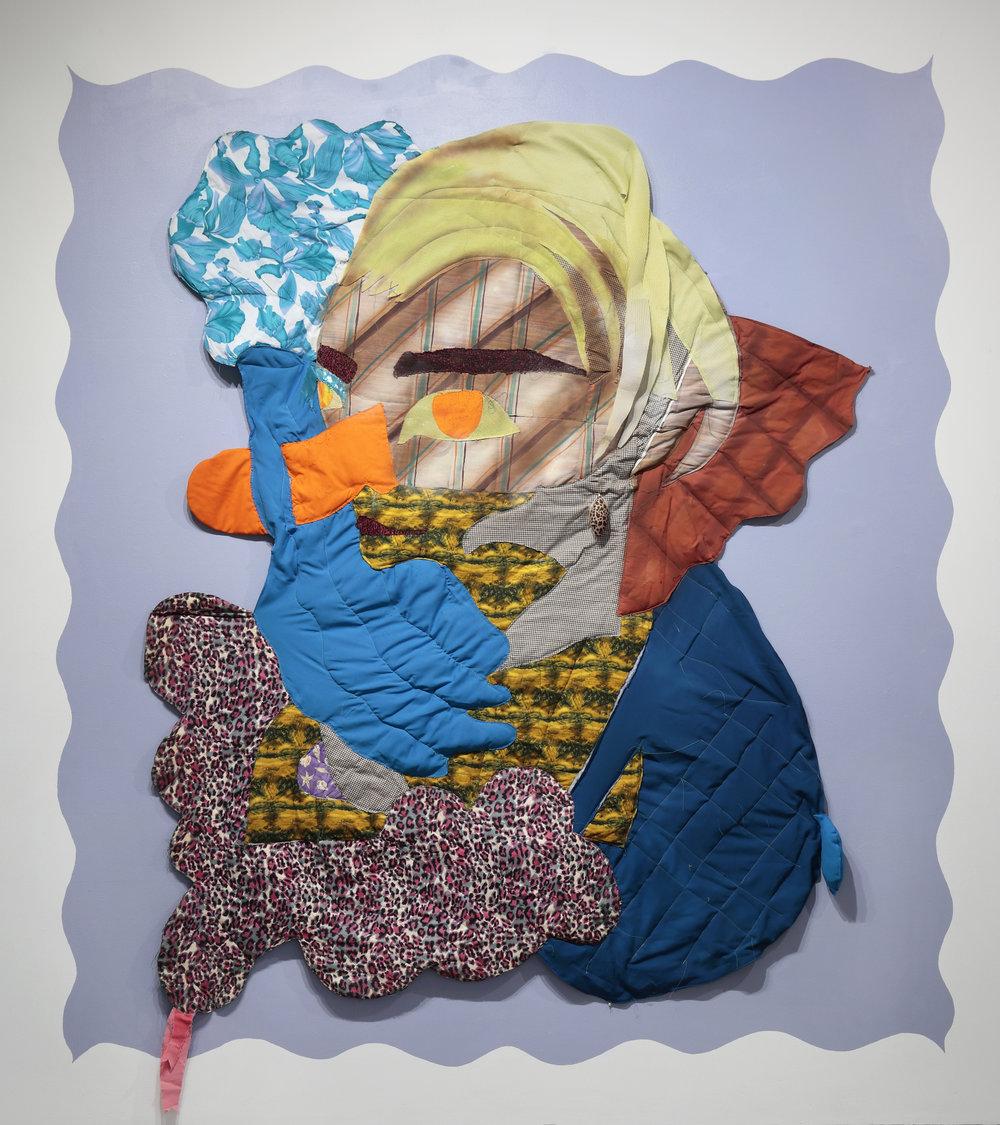 Maria Guzmán Capron,  Un Limon Medio Bombon , 2016  fabric, batting, thread, spray paint, latex paint, Christmas ornament  image courtesy of The Visual Arts Center of Richmond