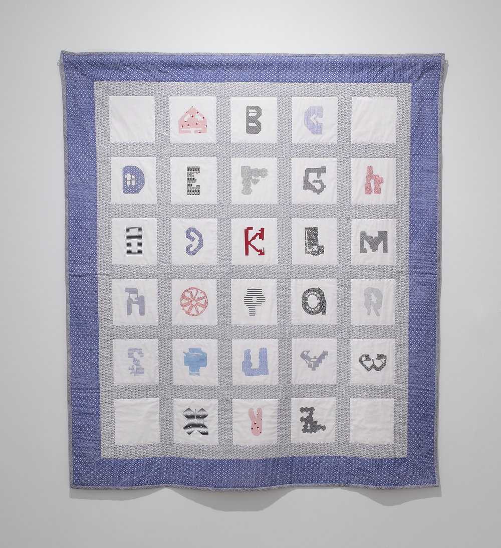 "Elizabeth Duffy,   Maximum Security Penitentiary Quilt, ""P is for Panopticon"" , 2016  bedding and fabrics printed with security patterns from bank and government issued correspondence  image courtesy of The Visual Arts Center of Richmond"