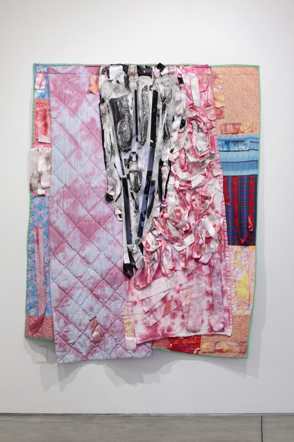 "Vadis Turner,   Ritual Heirloom 2, Champion Roses and Burnt Logs, ""Dare Devil Flower Arranging Society"", inspired by the wisdoms of Dee Christian, Mary Sharp, and Vicki Turner,  2017  hand-stitched quilts, ribbon, fabric dye, charred logs, resin, acrylic paint, mixed media  image courtesy of The Visual Arts Center of Richmond"