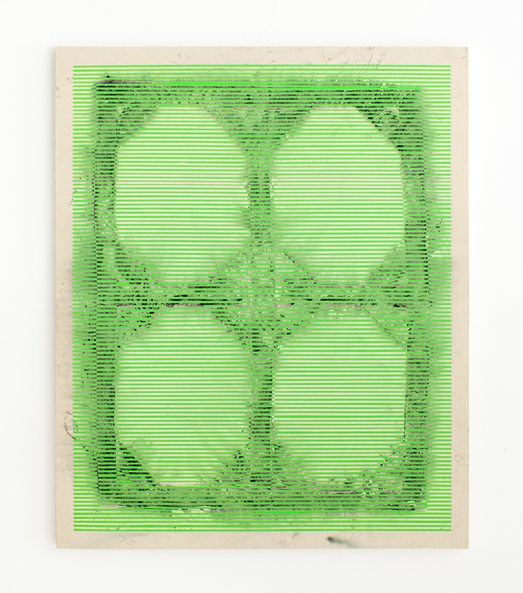 Bruce Wilhelm,   Stretcher Shroud with Green Bars (2017)   acrylic on canvas; 66h x 54w x 2d   image courtesy of ADA Gallery