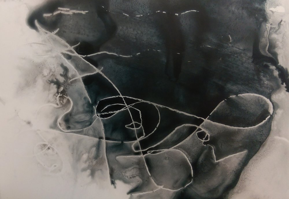 "Amie Oliver,   Arcadia Lost Series: Storm , 2015  ink wash and wax on polypropylene vellum, 12"" x 17.5""  image courtesy of the artist"