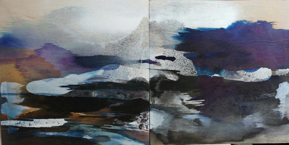 "Amie Oliver,   Arcadia Lost Series: Pool , 2016  ink wash, icelandic salt, acrylic and wax on cradled panels, 12"" x 24""   image courtesy of CAAD, Mississippi State University"