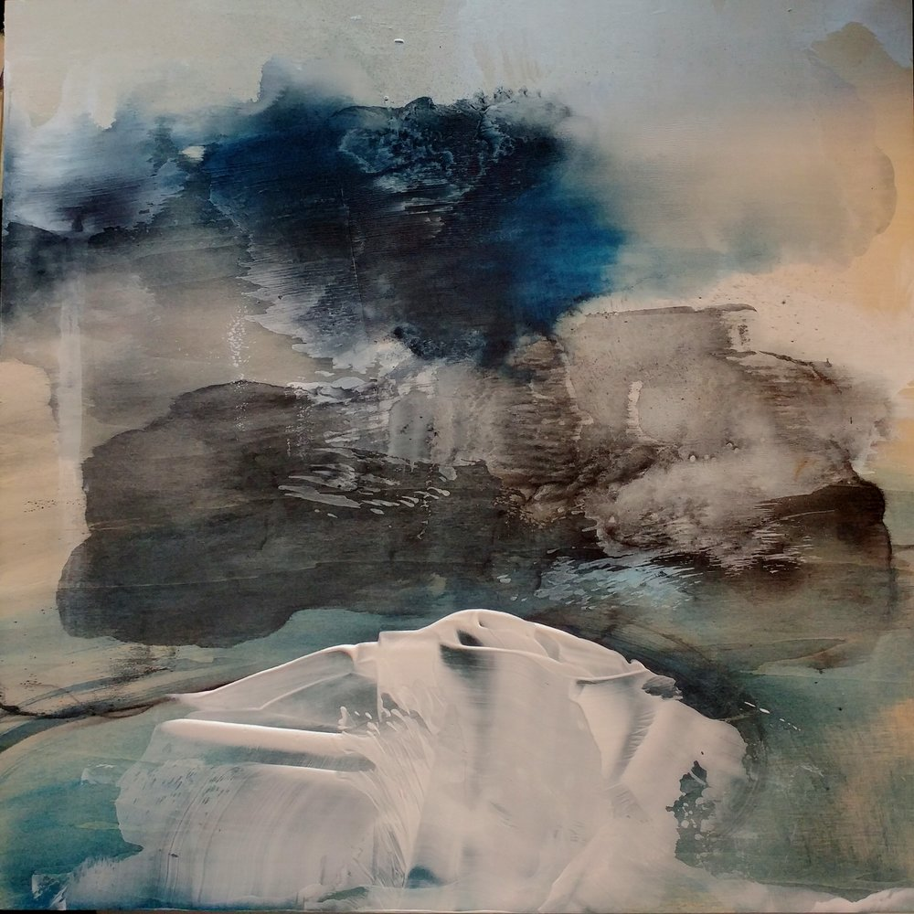 """Amie Oliver ,  Arcadia Lost Series: Astral Ruin , 2017.  ink wash and acrylic on cradled panel, 18"""" x 18""""  image courtesy of CAAD, Mississippi State University"""