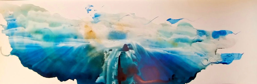 """Amie Oliver ,  Arcadia Lost Series: Undercurrent , 2018.  ink wash and wax on polypropylene vellum, 11"""" x 35""""  image courtesy of the artist"""