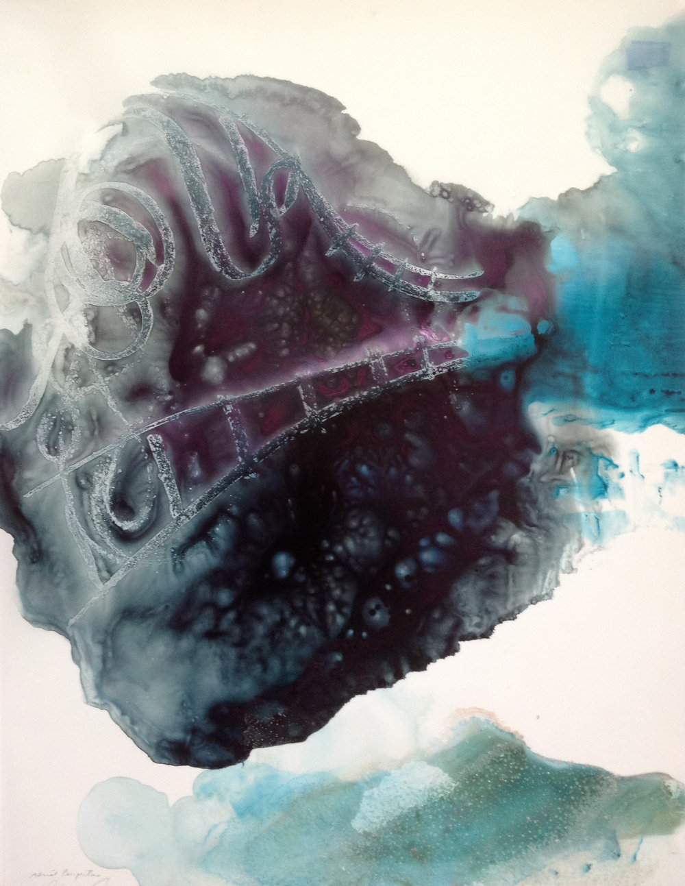 "Amie Oliver ,  Heaven, Earth and Sea Series: Salzburg Clouds,  2014  ink wash and wax on polypropylene paper, 17.5"" x 12""           image courtesy of the artist and Global Centre for Drawing, Melbourne, Australia"