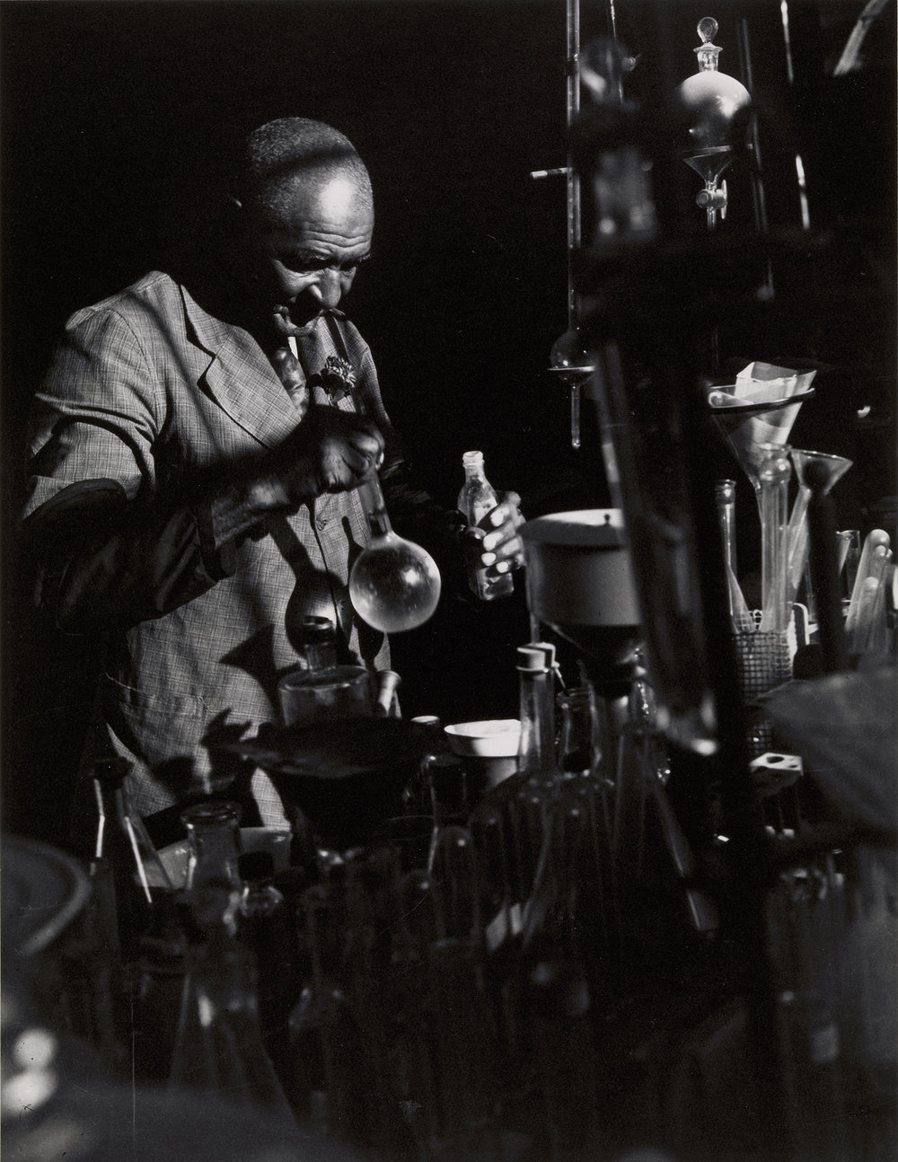 "Prentice Herman Polk,   George Washington Carver , ca. 1930, printed 1981  Gelatin silver print printed on AGFA paper, 11 5/16""H × 8 11/16""W   Virginia Museum of Fine Arts, Richmond. Adolph D. and Wilkins C. Williams Fund"