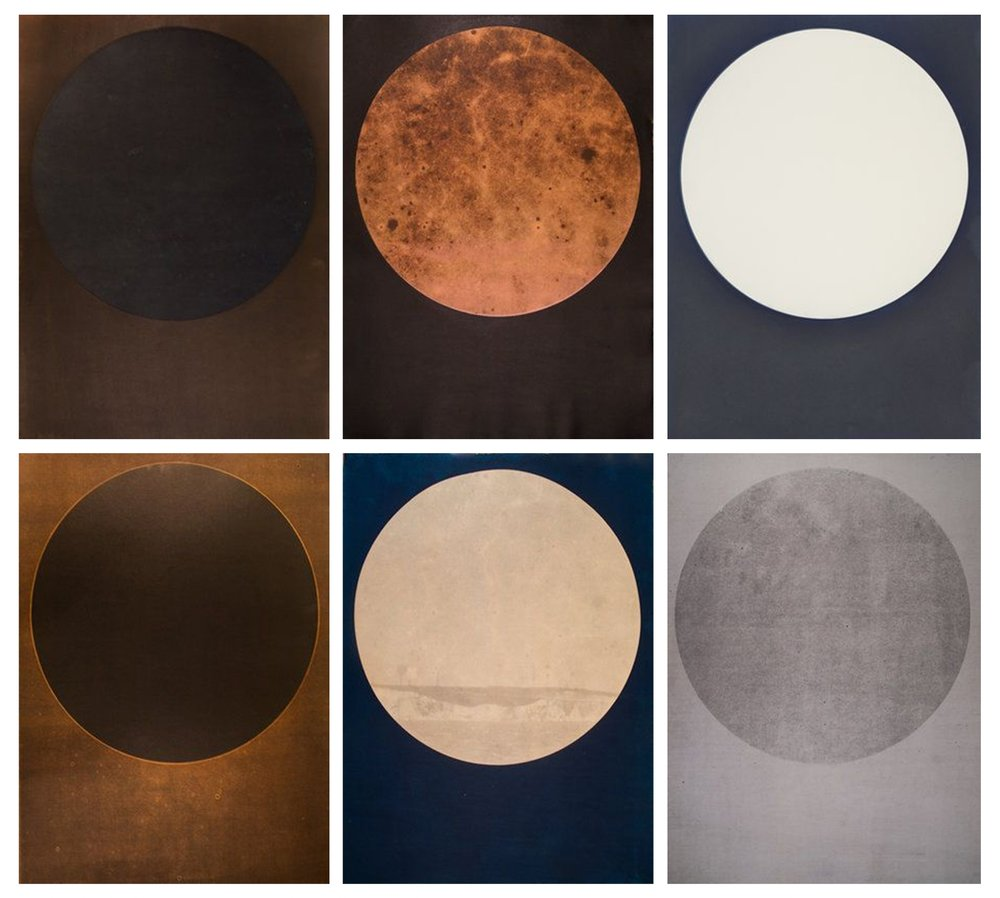 Harrison Walker,   Top Row (L to R) Portal No. 111, 082, 005, Bottom Row (L to R) Portal No. 101, 061, 065   Mixed Media Prints, 30 x 22 inches  Image courtesy of Candela Books and Gallery