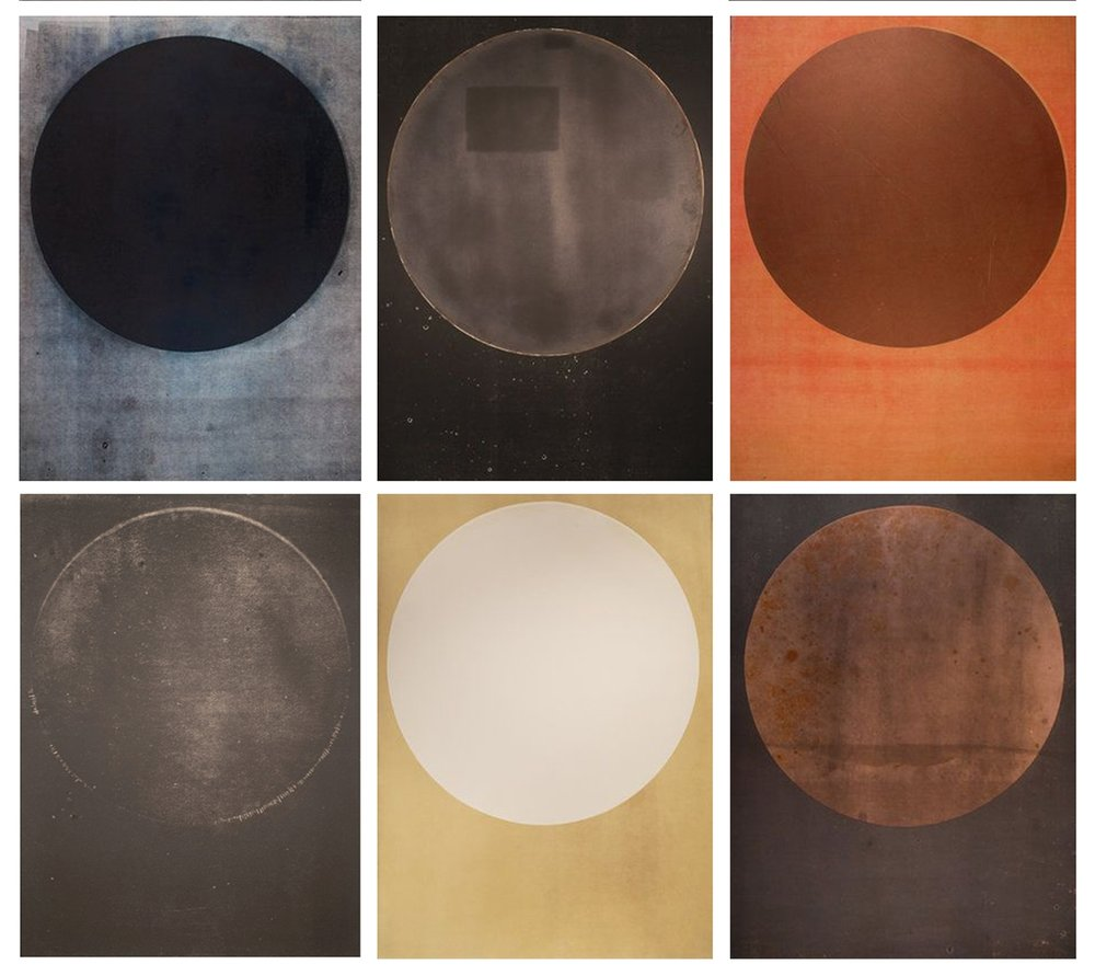 Harrison Walker,   Top Row (L to R) Portal No. 064, 120, 085, Bottom Row (L to R) Portal No. 004, 113, 089   Mixed Media Prints, 30 x 22 inches  Image courtesy of Candela Books and Gallery