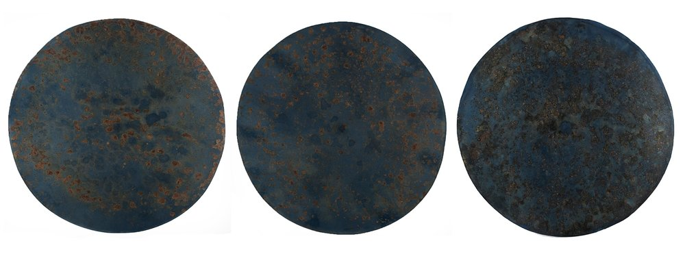 """Harrison Walker,   (L to R) Portal No. 207, 208, 210   Cyanotype, Knox Gelatin, Amonium Chloride, Sodium Citrate, on Rives BFK with 20"""" Steel Disk  Image courtesy of Candela Books and Gallery"""