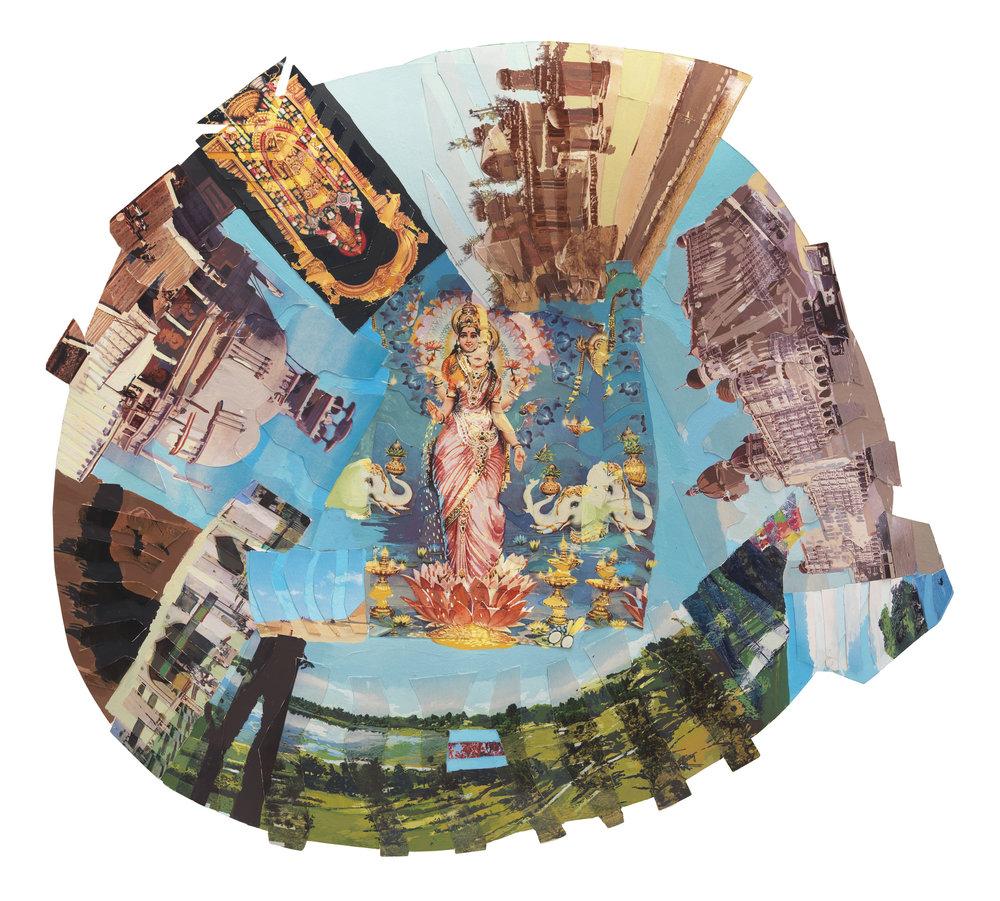 Howardena Pindell ,  Autobiography: India (Lakshmi) , 1984.  Mixed media on board.   Image courtesy of Garth Greenan Gallery, New York.