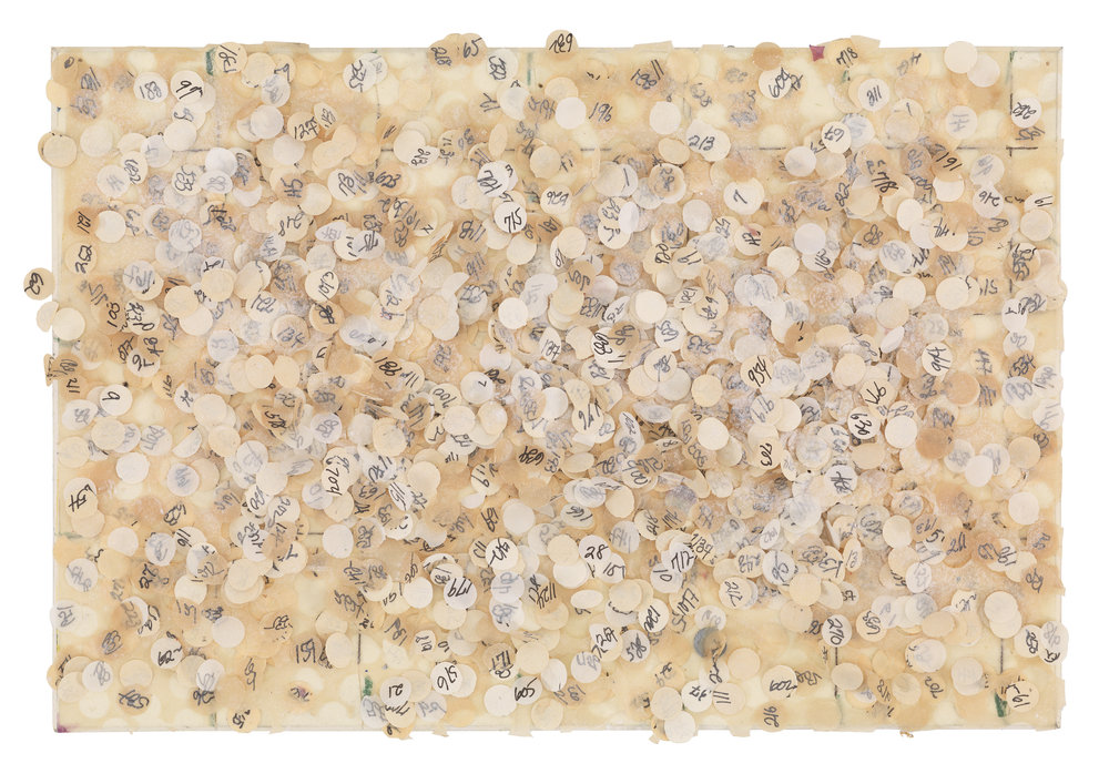 Howardena Pindell ,  Untitled #58 , 1974.  Mixed media on board.   Image courtesy of JK Brown and Eric Diefenbach, New York.