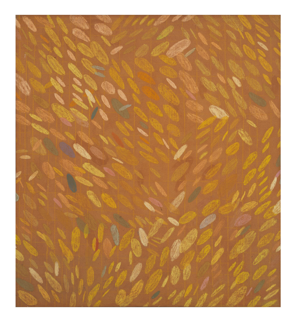 Howardena Pindell ,  Untitled , c. 1968.  Acrylic and cray-pas on canvas.  Image courtesy of Garth Greenan Gallery.