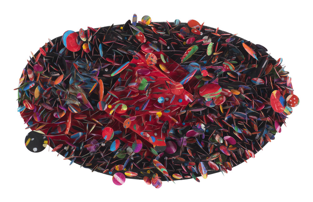Howardena Pindell ,  Untitled #5B (Krakatoa) , 2007.  Mixed media on paper collage.  Image courtesy of the artist and Garth Greenan Gallery, New York.