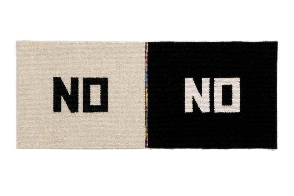 "Susan Iverson,  Black on White and White on Black , 2016  wool, silk and linen on linen warp  13.75"" x 33.5"""