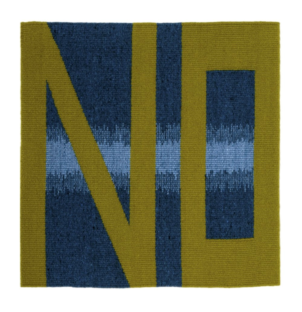 "Susan Iverson,  Green on Blues , 2015  wool and silk on linen warp  22"" x 21.25"""