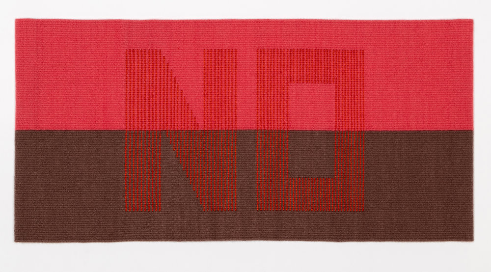 "Susan Iverson,  The Color of NO - Orange on Peach and Lt. Brown,  2018  Wool, silk  16"" x 33.5"""