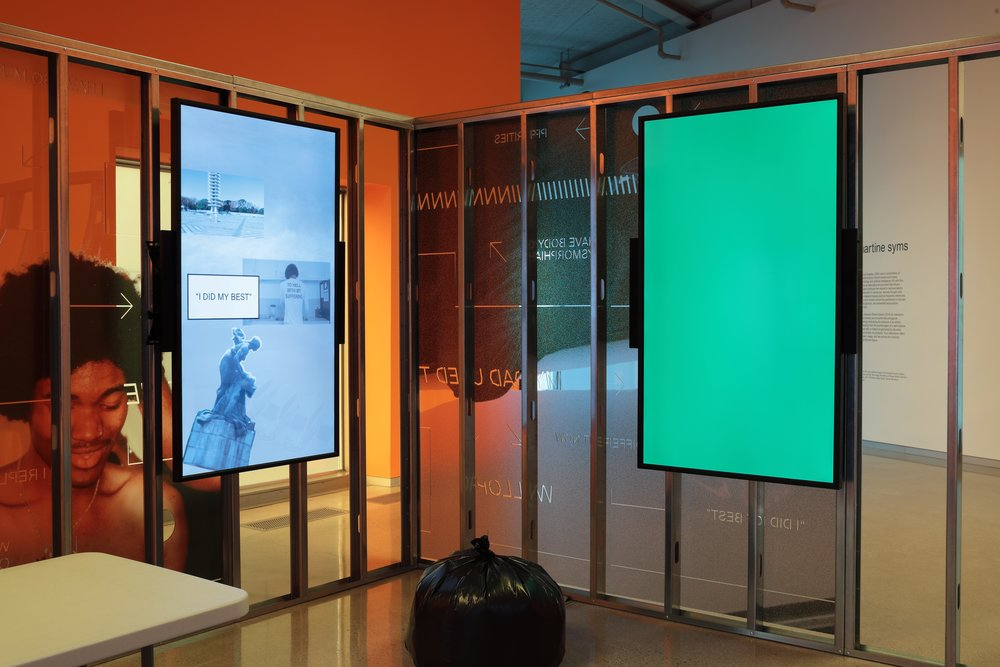 Martine Syms ,  Shame Space , 2019, Dialogues: Irena Haiduk and Martine Syms, Institute for Contemporary Art at Virginia Commonwealth University, Richmond, Virginia, 2019  Interactive video installation including photographic-printed acrylic with CNC cuts, LED displays, vinyl, aluminum, gaming computers, and miscellaneous installation waste  Photo credit: David Hunter Hale for the Institute for Contemporary Art at VCU