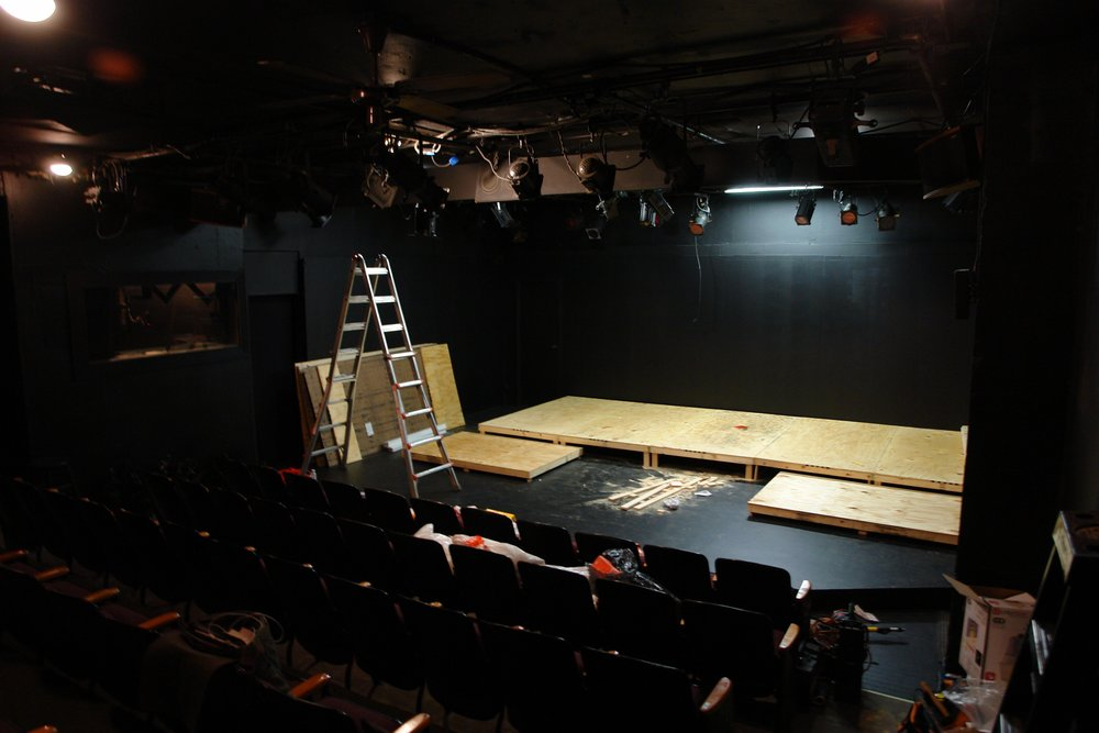 Set construction begins at Hollywood's El Centro Theatre for Lascaux Entertainment's 2011 production of  The Elephant Man , directed by John Drouillard.  Photo by Natalie Drouillard.