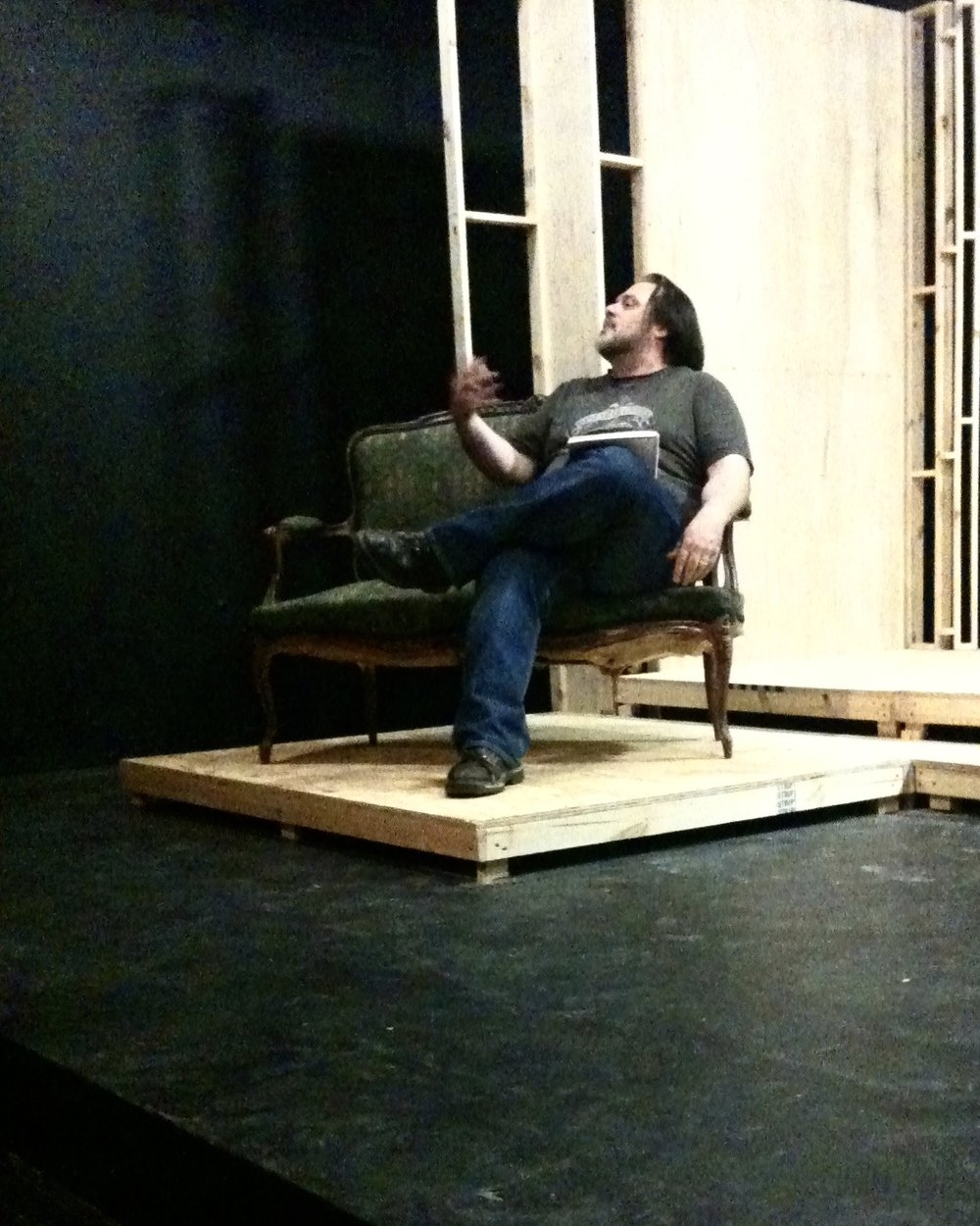 Director John Drouillard gives notes to the actors during a rehearsal for Lascaux Entertainment's 2011 production of  The Elephant Man , directed by Drouillard.  Photo by Natalie Drouillard.