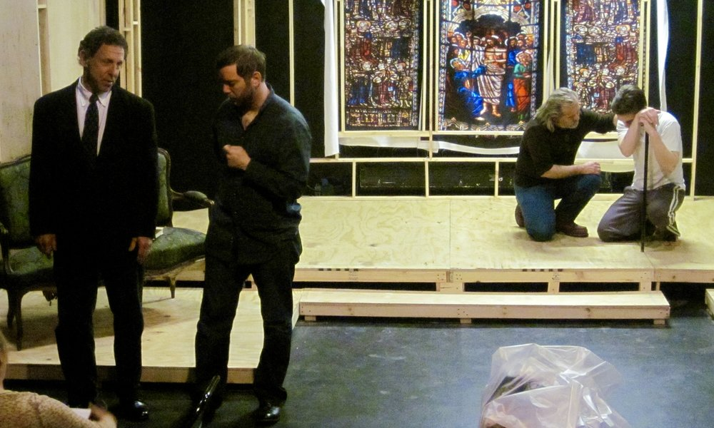 Actors Sal Viscuso, Alex Monti Fox, Trent Hopkins, and Sean Hoagland rehearse during load-in of Lascaux Entertainment's 2011 production of  The Elephant Man , directed by John Drouillard.  Photo by Natalie Drouillard.