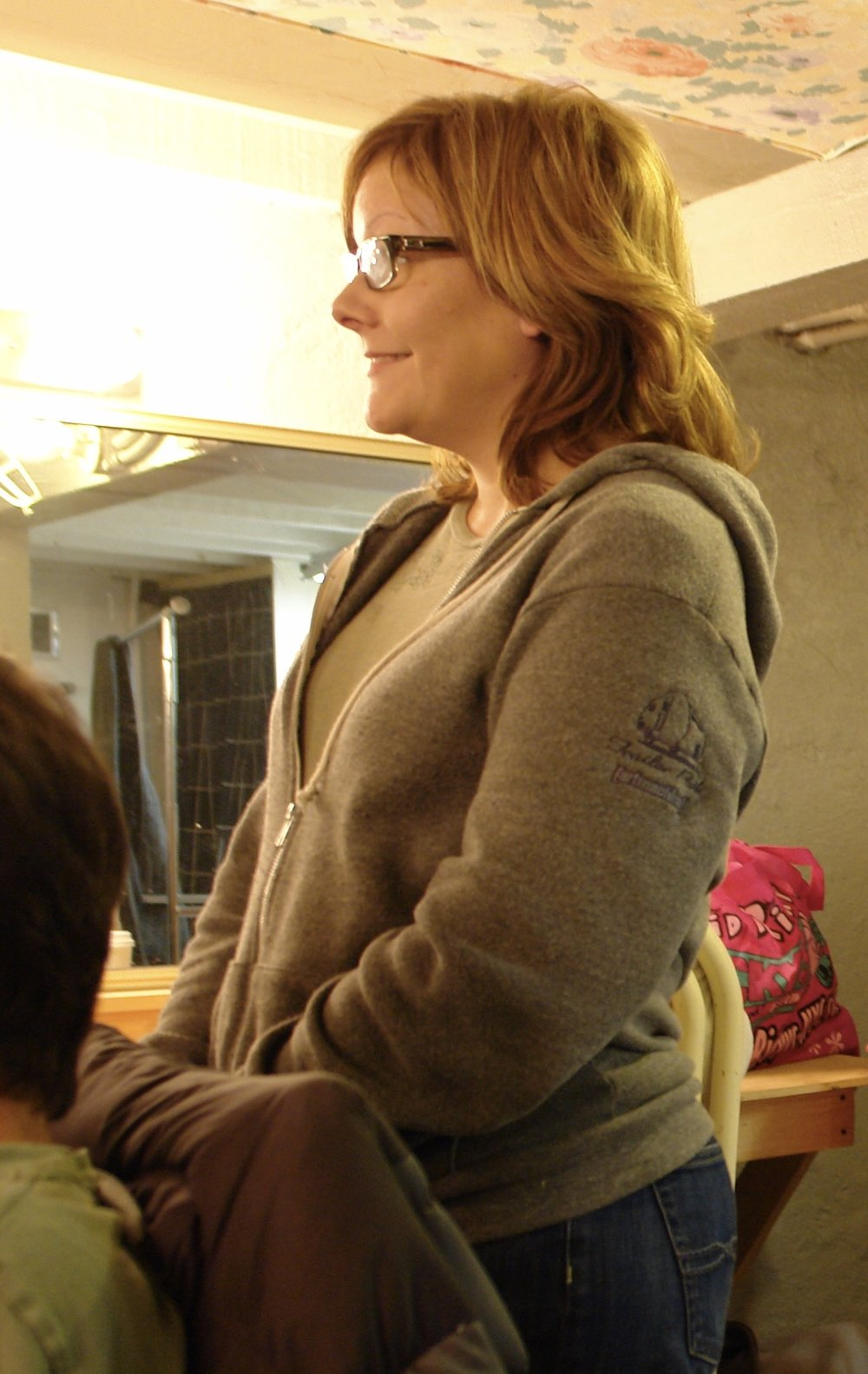 Producer Natalie Drouillard backstage at Hollywood's El Centro Theatre during Lascaux Entertainment's 2011 production of  The Elephant Man , directed by John Drouillard.  Photo by John Drouillard.