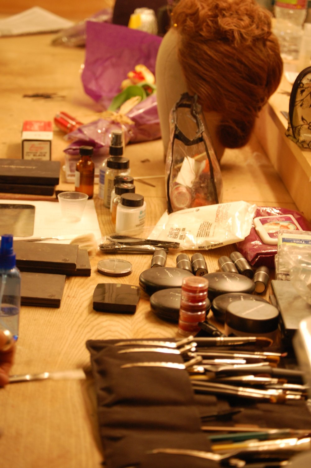Make-up artist Boutheyna Boots' station backstage at Hollywood's El Centro Theatre during Lascaux Entertainment's 2011 production of  The Elephant Man , directed by John Drouillard.  Photo by Nirvana Kowlessar.