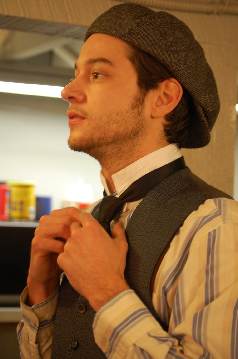 Actor Caleb Neet backstage during Lascaux Entertainment's 2011 production of  The Elephant Man , directed by John Drouillard.  Photo by Nirvana Kowlessar.