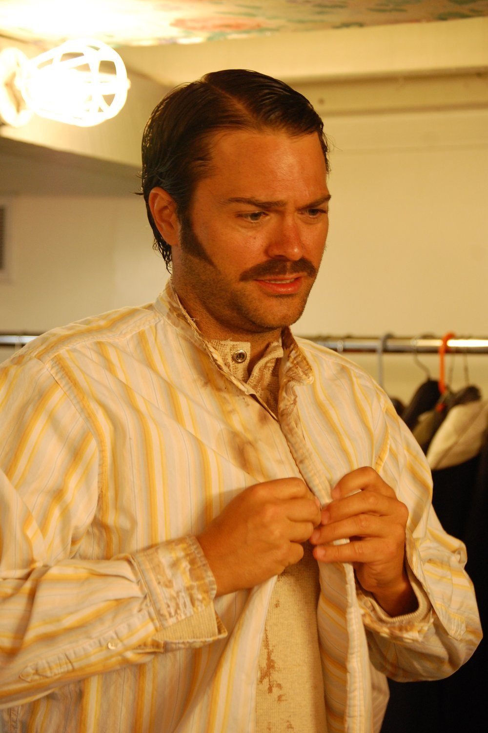 Actor David Folsom backstage during Lascaux Entertainment's 2011 production of  The Elephant Man , directed by John Drouillard.  Photo by Nirvana Kowlessar.