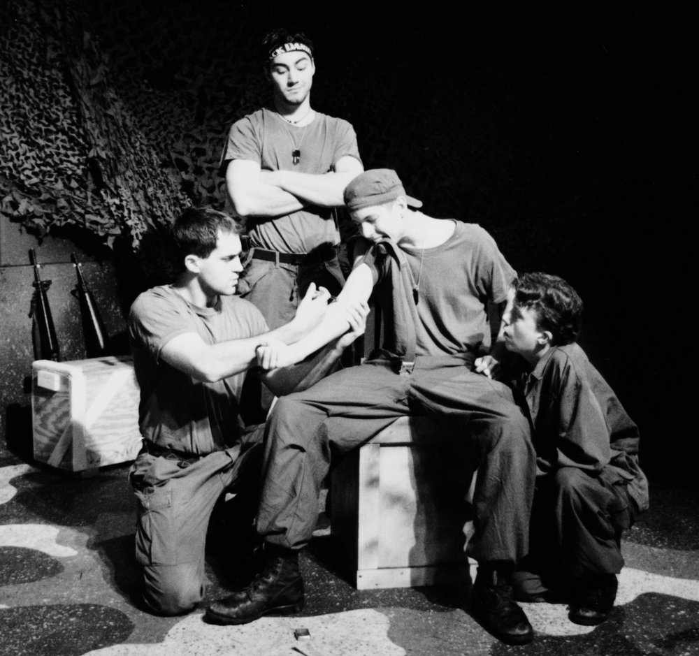 Scott Donnelly (Little John), Chris Solari (Scooter), William Vogt (Dink Dau), and Scott Freeburg in Draw the Sneck Productions' 1996 | 1997 productions of  Tracers , directed by John Drouillard.  Photo by Paul Backer.