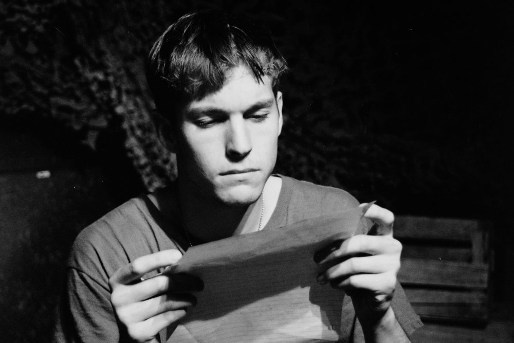 William Vogt (Dinky Dau) in Draw the Sneck Productions' 1996 | 1997 productions of  Tracers , directed by John Drouillard.  Photo by Paul Backer.
