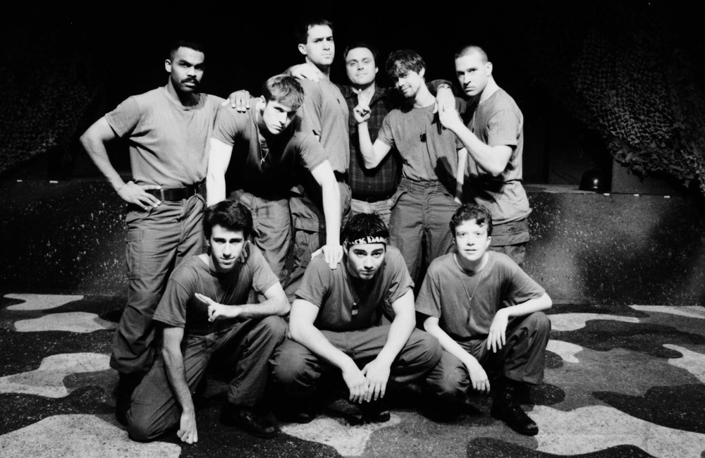 Director and cast of Draw the Sneck Productions' 1996 | 1997 productions of  Tracers , directed by John Drouillard, (L-R):  Gene Fereaud, Craig Bilsky, William Vogt, Scott Donnelly, John Drouillard, Chris Solari, Andy Hungerford, Scott Freeburg, and Peter Winfield.  Photo by Paul Backer.