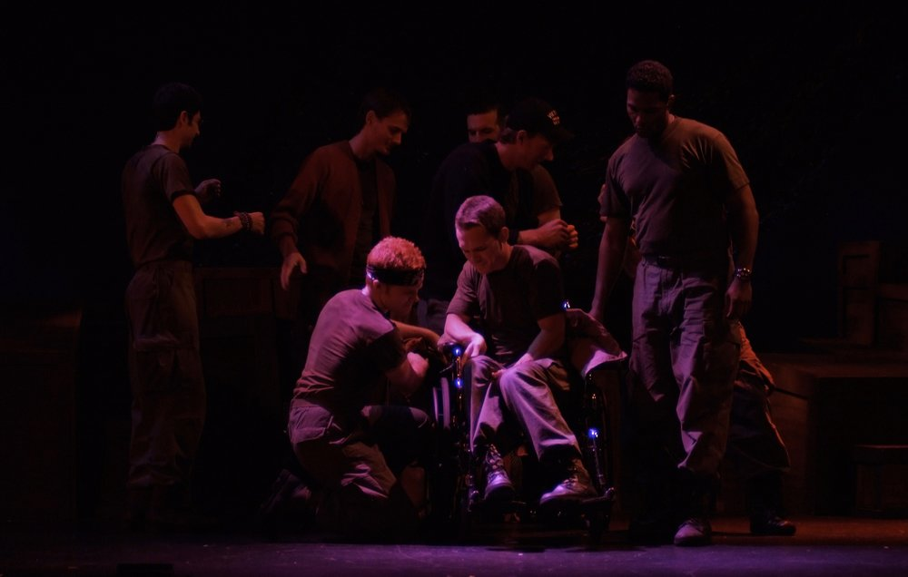 Julian Colletta (Professor), Travis Hammer (Doc), Matthew Koehler (Scooter), Sean Hoagland (Dinky Dau), Michael Yavnieli (Sgt. Williams), Nick Cimiluca (Little John), Sean Ryal (Habu), and Jeremy Ordaz (Baby San) in James A. Blackman, III & Hermosa Beach Playhouse's 2008 production of  Tracers , directed by John Drouillard.  Photo by Alysa Brennan.