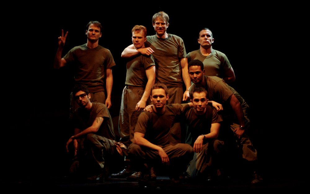 Julian Colletta (Professor), Travis Hammer (Doc), Matthew Koehler (Scooter), Sean Hoagland (Dinky Dau), Nick Cimiluca (Little John), Sean Ryal (Habu), Jeremy Ordaz (Baby San), and Michael Yavnieli (Sgt. Williams) in James A. Blackman, III & Hermosa Beach Playhouse's 2008 production of  Tracers , directed by John Drouillard.  Photo by Alysa Brennan.