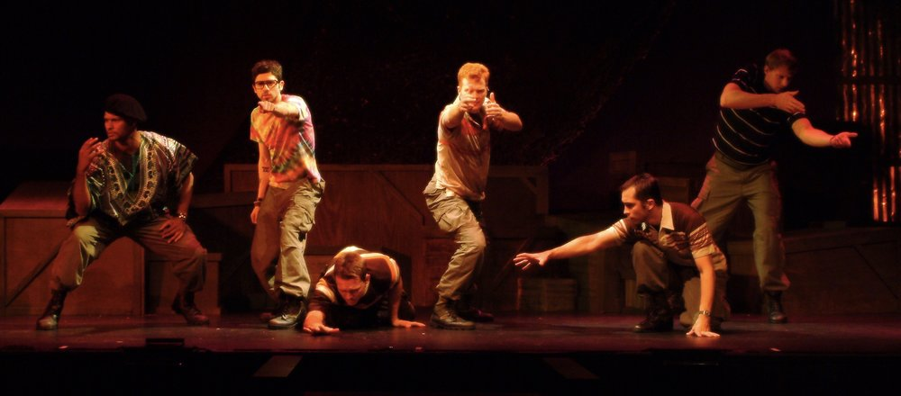 Sean Ryal (Habu), Julian Colletta (Professor), Sean Hoagland (Dinky Dau), Matthew Koehler (Scooter), Jeremy Ordaz (Baby San), and Nick Cimiluca (Little John) in James A. Blackman, III & Hermosa Beach Playhouse's 2008 production of  Tracers , directed by John Drouillard.  Photo by Alysa Brennan.