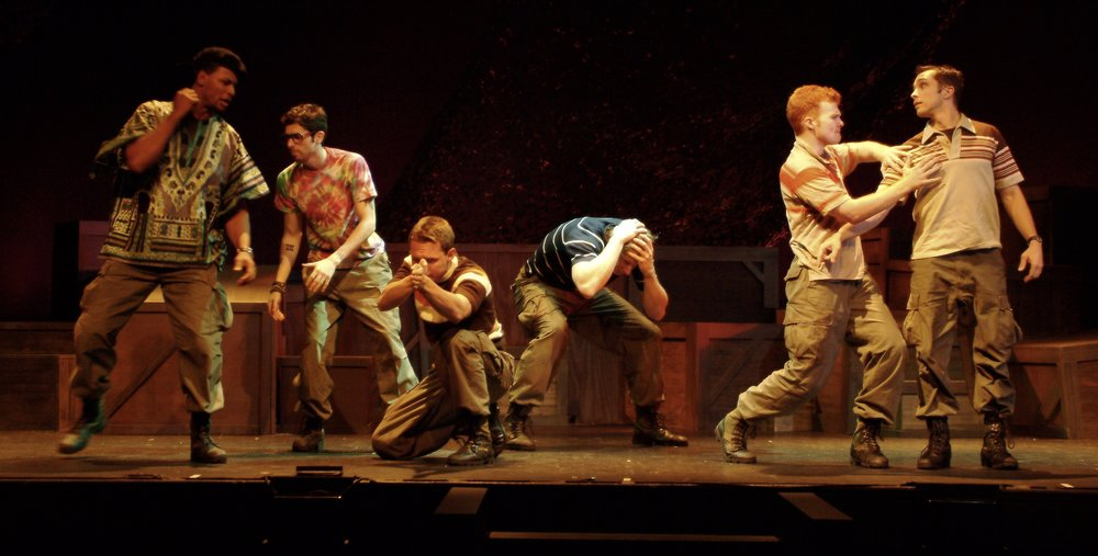 Sean Ryal (Habu), Julian Colletta (Professor), Sean Hoagland (Dinky Dau), Nick Cimiluca (Little John), Matthew Koehler (Scooter), and Jeremy Ordaz (Baby San) in James A. Blackman, III & Hermosa Beach Playhouse's 2008 production of  Tracers , directed by John Drouillard.  Photo by Alysa Brennan.