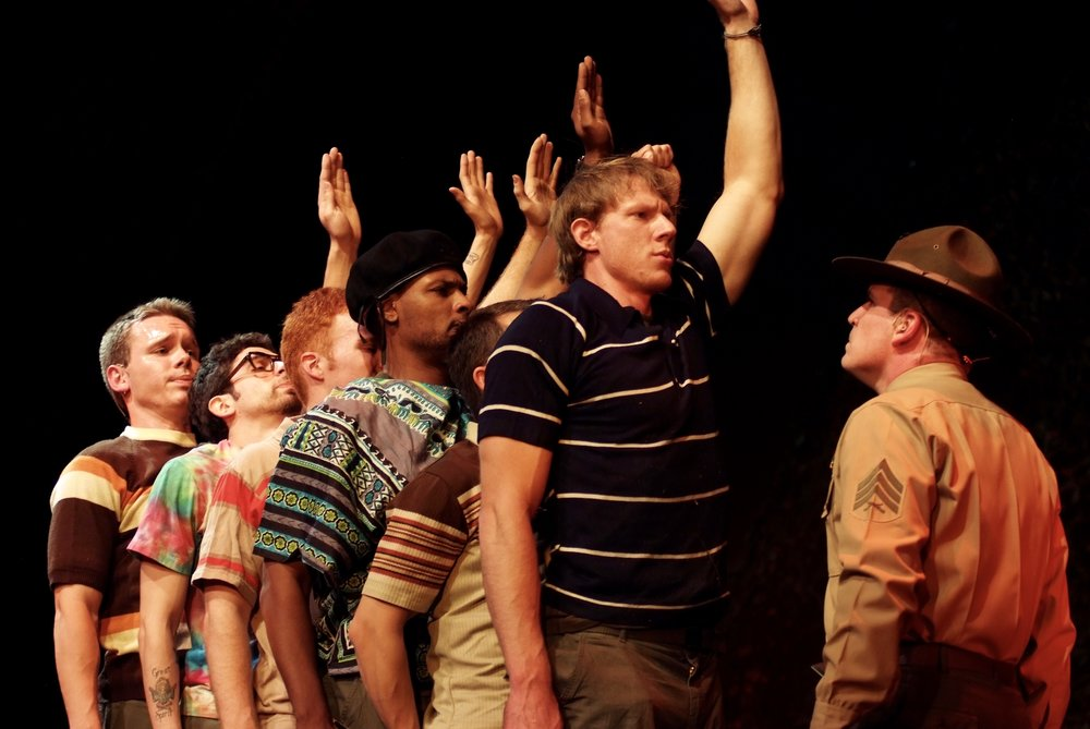 Sean Hoagland (Dinky Dau), Julian Colletta (Professor), Matthew Koehler (Scooter), Sean Ryal (Habu), Jeremy Ordaz (Baby San), Nick Cimiluca (Little John), and Michael Yavnieli (Sgt. Williams) in James A. Blackman, III & Hermosa Beach Playhouse's 2008 production of  Tracers , directed by John Drouillard.  Photo by Alysa Brennan.