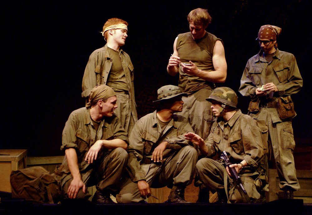 Sean Hoagland (Dinky Dau), Matthew Koehler (Scooter), Sean Ryal (Habu), Nick Cimiluca (Little John), Jeremy Ordaz (Baby San), and Julian Colletta (Professor) in James A. Blackman, III & Hermosa Beach Playhouse's 2008 production of  Tracers , directed by John Drouillard.  Photo by Alysa Brennan.