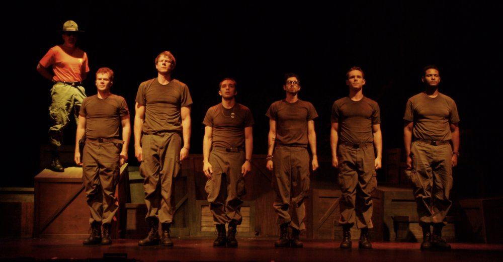 Michael Yavnieli (Sgt. Williams), Matthew Koehler (Scooter), Nick Cimiluca (Little John), Jeremy Ordaz (Baby San), Julian Colletta (Professor), Sean Hoagland (Dinky Dau), and Sean Ryal (Habu) in James A. Blackman, III & Hermosa Beach Playhouse's 2008 production of  Tracers , directed by John Drouillard.  Photo by Alysa Brennan.