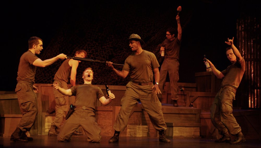 Jeremy Ordaz (Baby San), Nick Cimiluca (Little John), Matthew Koehler (Scooter), Sean Ryal (Habu), Julian Colletta (Professor), and Sean Hoagland (Dinky Dau) in James A. Blackman, III & Hermosa Beach Playhouse's 2008 production of  Tracers , directed by John Drouillard.  Photo by Alysa Brennan.