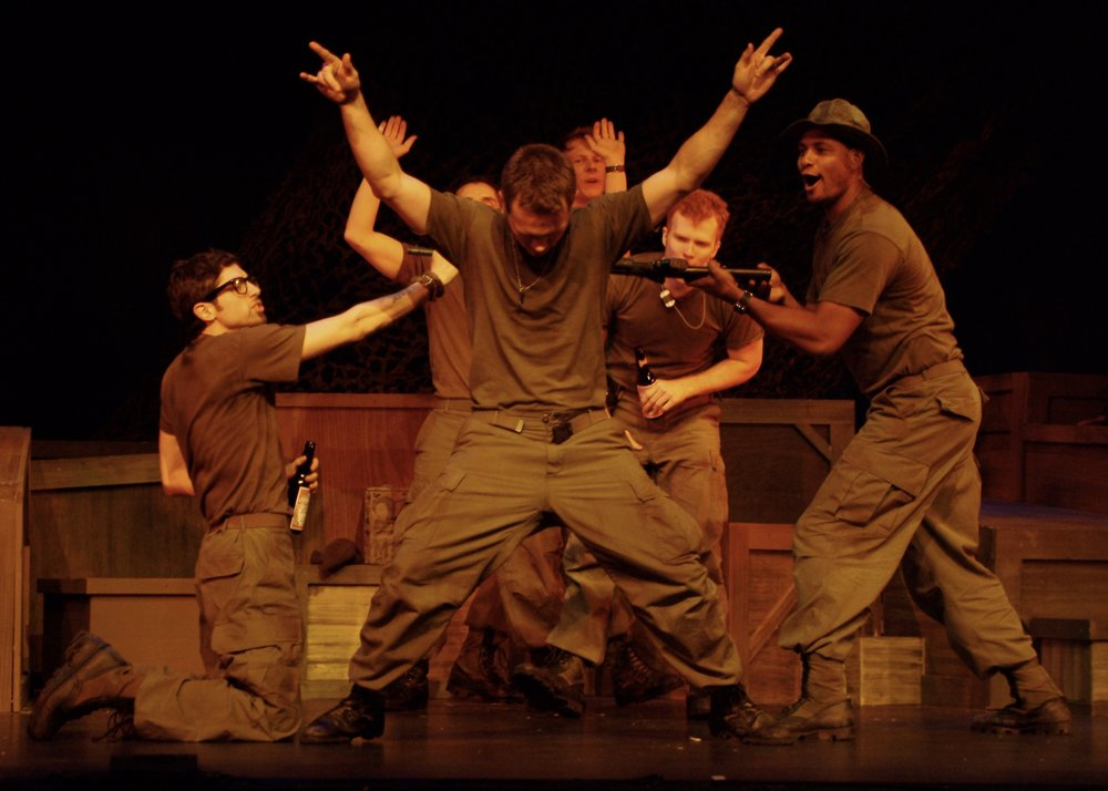 Julian Colletta (Professor), Jeremy Ordaz (Baby San), Sean Hoagland (Dinky Dau), Nick Cimiluca (Little John), Matthew Koehler (Scooter), and Sean Ryal (Habu) in James A. Blackman, III & Hermosa Beach Playhouse's 2008 production of  Tracers , directed by John Drouillard.  Photo by Alysa Brennan.