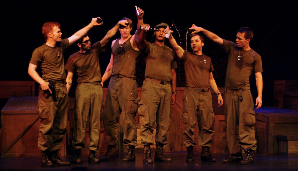 Matthew Koehler (Scooter), Julian Colletta (Professor), Nick Cimiluca (Little John), Sean Ryal (Habu), Jeremy Ordaz (Baby San), and Sean Hoagland (Dinky Dau) in James A. Blackman, III & Hermosa Beach Playhouse's 2008 production of  Tracers , directed by John Drouillard.  Photo by Alysa Brennan.