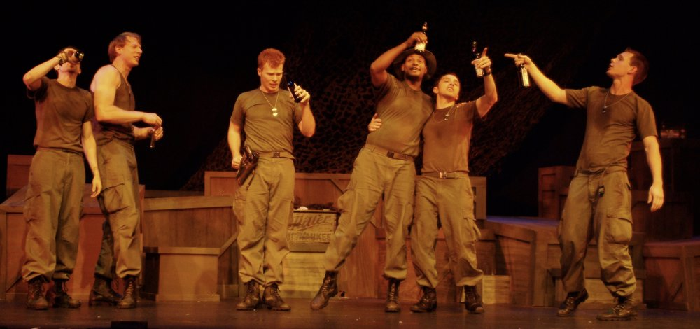 Julian Colletta (Professor), Nick Cimiluca (Little John), Matthew Koehler (Scooter), Sean Ryal (Habu), Jeremy Ordaz (Baby San), and Sean Hoagland (Dinky Dau) in James A. Blackman, III & Hermosa Beach Playhouse's 2008 production of  Tracers , directed by John Drouillard.  Photo by Alysa Brennan.