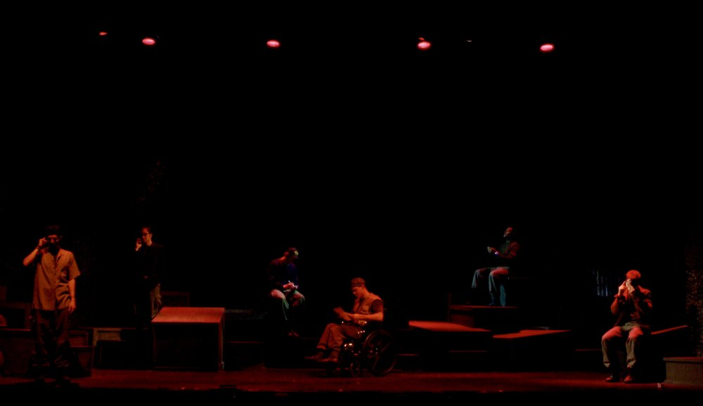 Julian Colletta (Professor), Jeremy Ordaz (Baby San), Nick Cimiluca (Little John), Sean Hoagland (Dinky Dau), Sean Ryal (Habu), and Matthew Koehler (Scooter) in James A. Blackman, III & Hermosa Beach Playhouse's 2008 production of  Tracers , directed by John Drouillard.  Photo by Alysa Brennan.